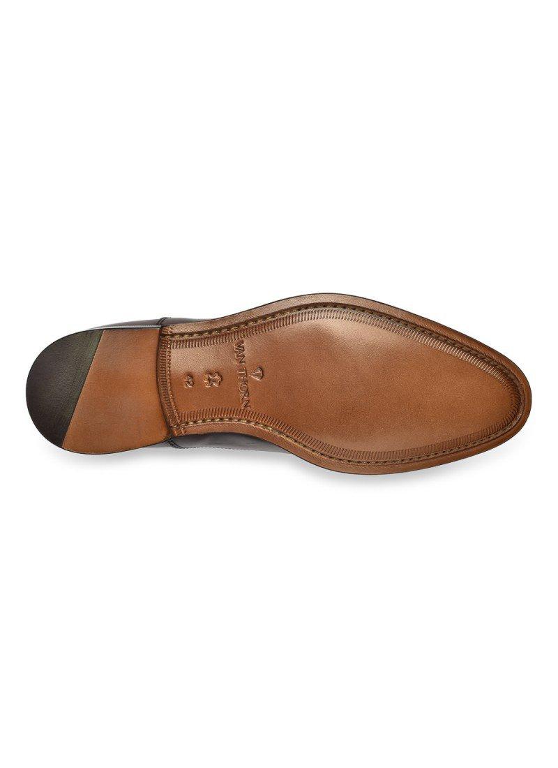 3c37cf724f112 Eleganckie ciemne brązowe skórzane buty męskie typu Oxford ...