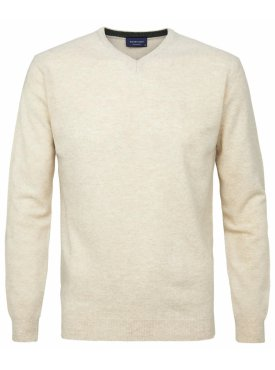 Pullover v-neck beżowy