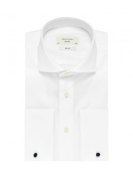 963c853820807 Elegancka biała koszula męska taliowana (SLIM FIT) z włoskim kołnierzykiem  i mankietami na spinki