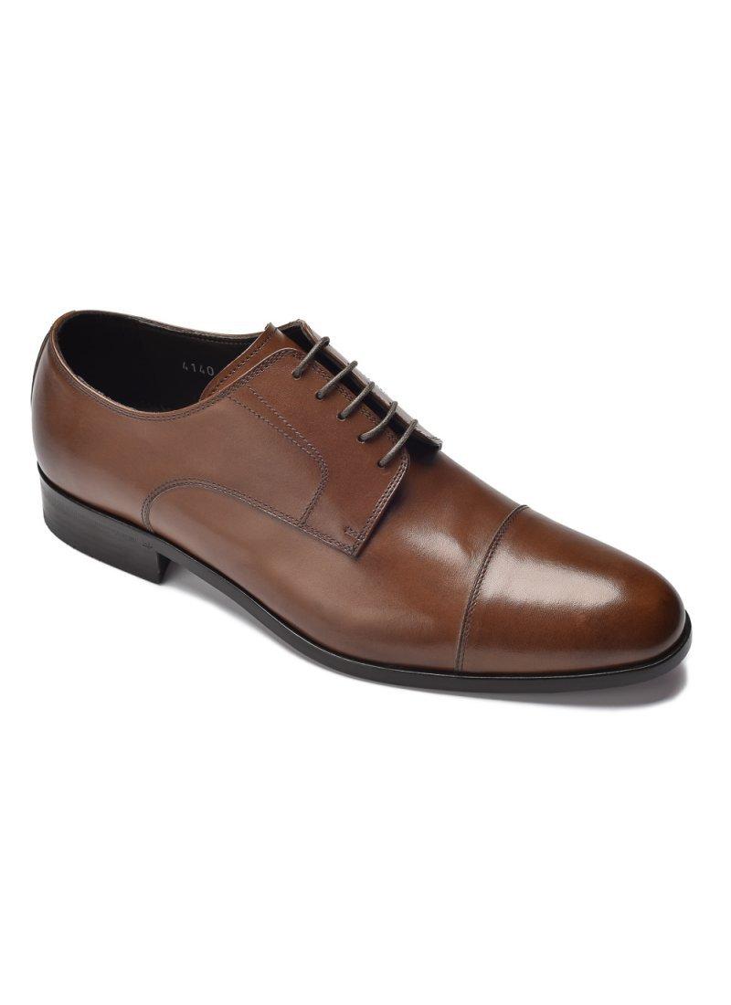 323fbf0c388e6 Eleganckie i luksusowe brązowe skórzane buty męskie typu derby ...