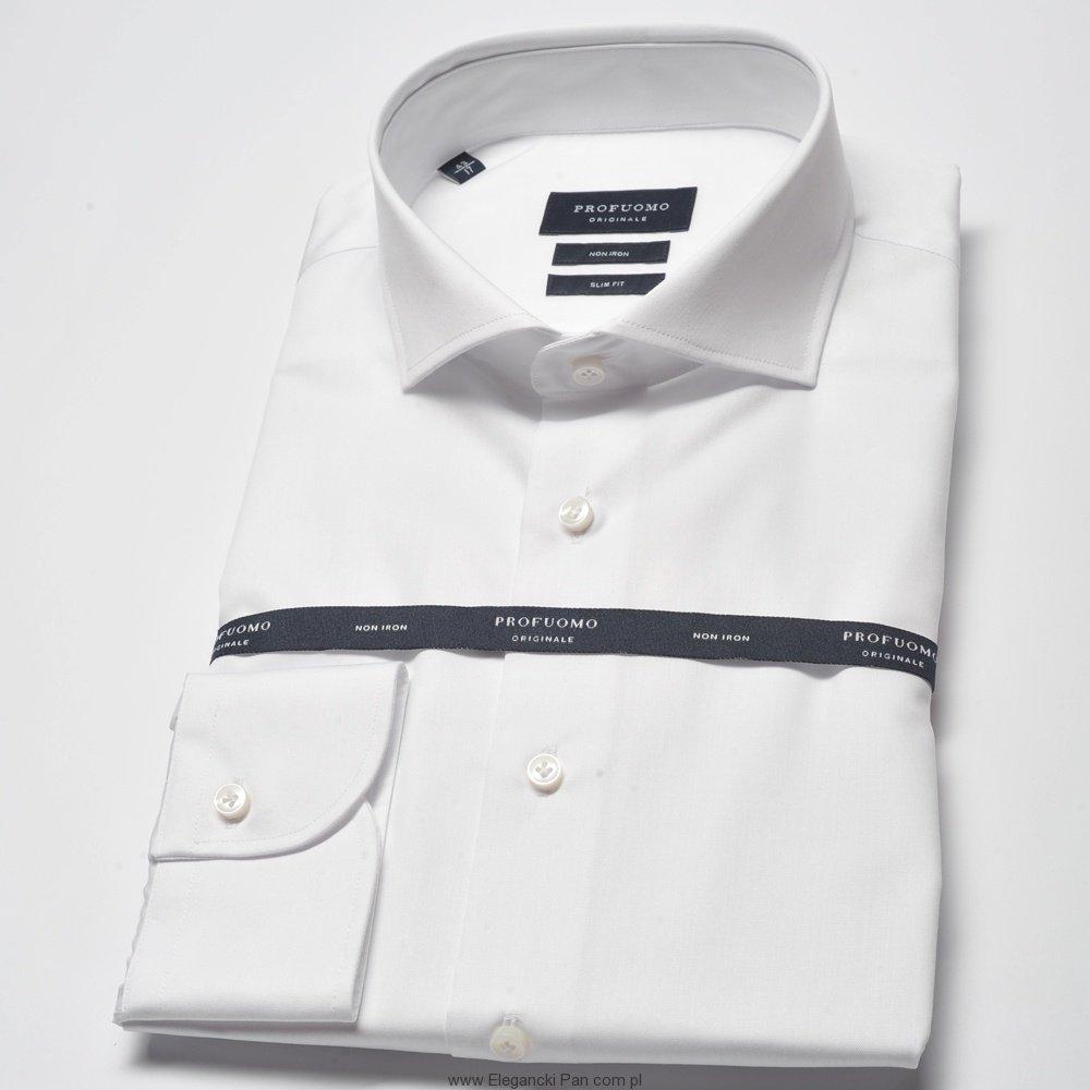 8a5635f1baf472 Extra długa biała koszula męska taliowana SLIM FIT - Na guziki ...