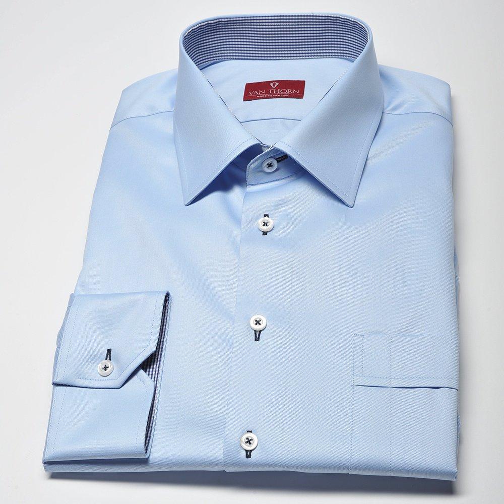 Elegancka niebieska koszula męska VAN THORN Slim Fit z  v8JRG