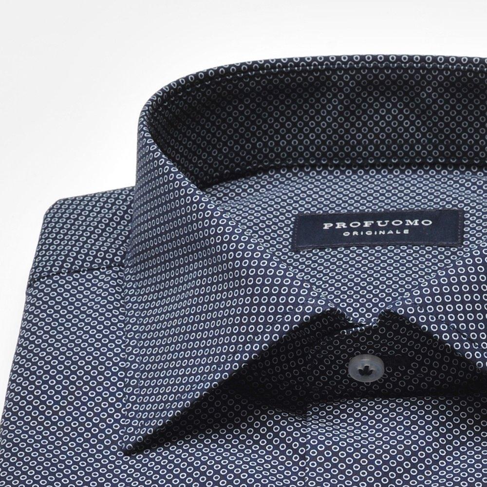 Granatowa koszula męska (Normal Fit) w białe kółeczka Na  C0EPr
