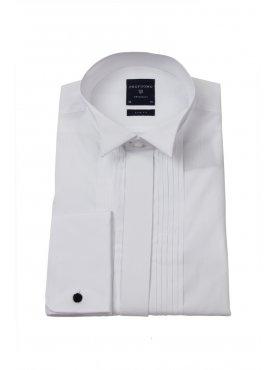 1e915809cc977 Biała koszula męska smokingowa z łamanym kołnierzykiem, krytą listwą i  plisami (SLIM FIT)