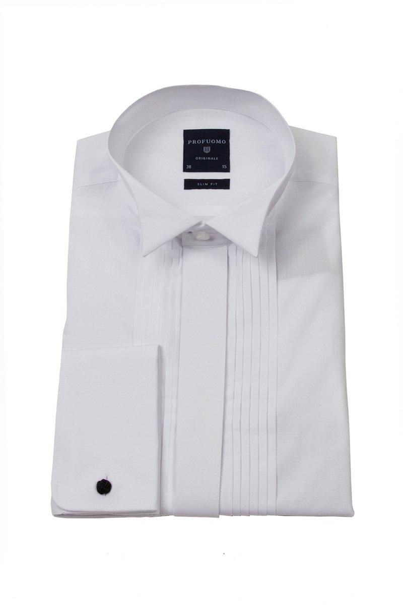 88af08623e0be9 Biała koszula męska smokingowa z łamanym kołnierzykiem, krytą listwą i  plisami (SLIM FIT)