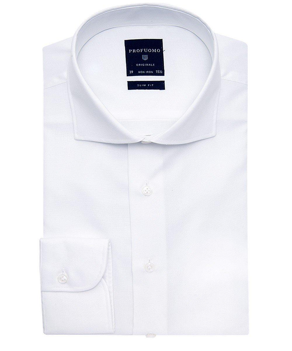 Elegancka biała koszula męska taliowana, SLIM FIT o splocie typu Panama